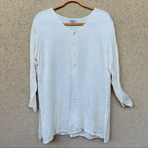 CP shades embroidered tunic top ivory long sleeve